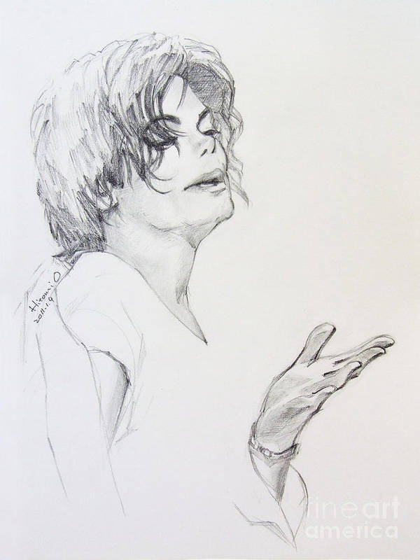 Michael Jackson Art Print featuring the drawing Michael Jackson - In 2001 Ny by Hitomi Osanai