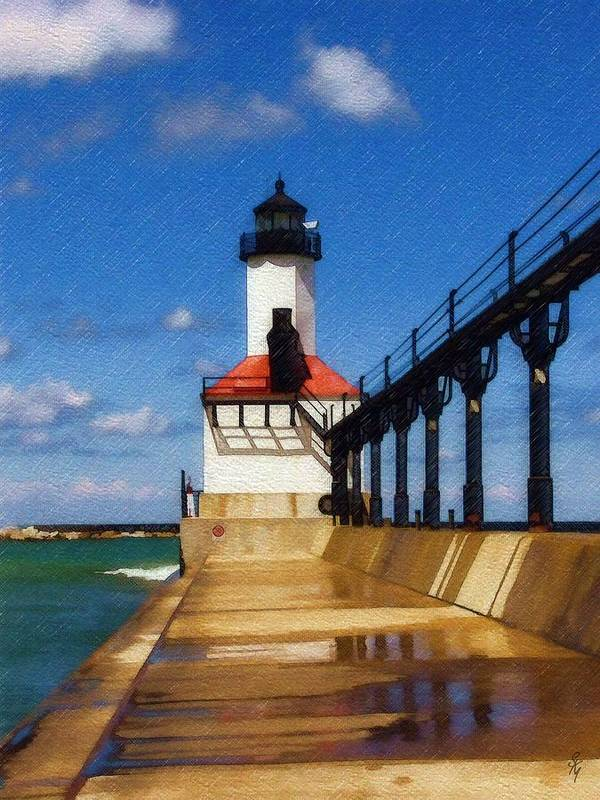 Lighthouse Art Print featuring the photograph Michigan City Light 1 by Sandy MacGowan