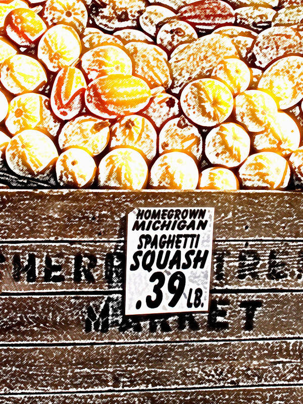 Altered Art Print featuring the photograph Michigan Squash For Sale by Wayne Potrafka