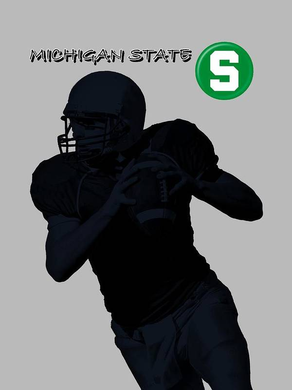 Football Art Print featuring the digital art Michigan State Football by David Dehner