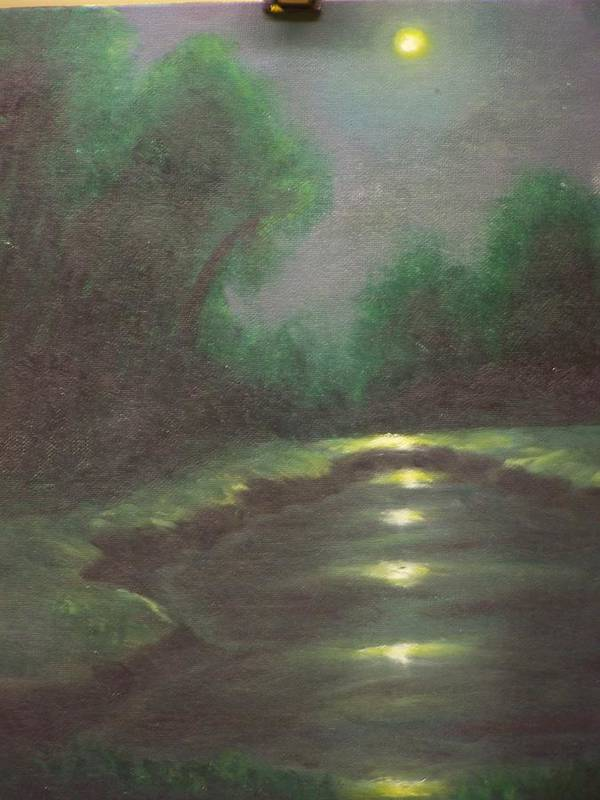 Landscape Art Print featuring the painting Midnight Hour by Charles Vaughn