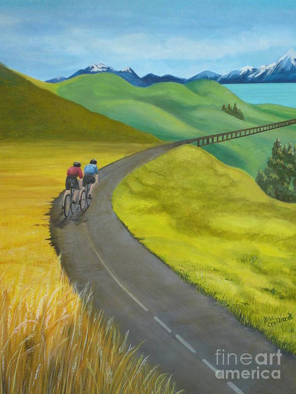 Bicycles Art Print featuring the painting Miles To Go by Kris Crollard