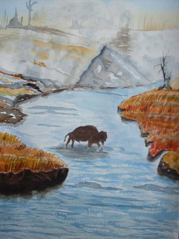 Landscape Art Print featuring the painting Montana Wildlife by Warren Thompson