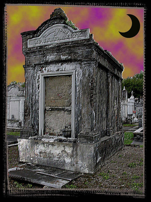 New Orleans Art Print featuring the photograph Moonlit Cemetary by Linda Kish
