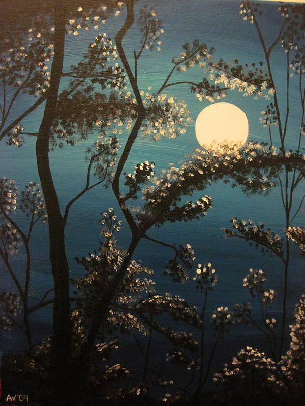 Moon Art Print featuring the painting Moonlit Trees by Ashley Warbritton