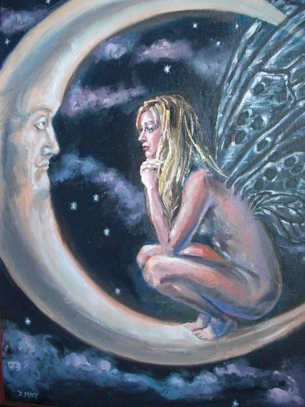 Fairy Art Print featuring the painting Moonstruck by Deborah Macy