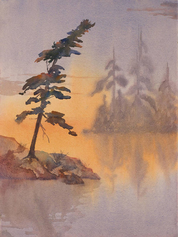 Lake Art Print featuring the painting Morning Mist by Debbie Homewood