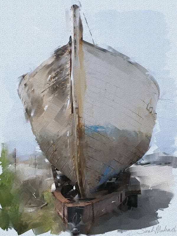 Boat Art Print featuring the painting Moss Landing Boat by Sarah Madsen