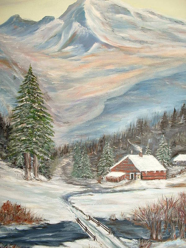 Landscape Mountains Cabin River Trees Art Print featuring the painting Mountain Cabin by Kenneth LePoidevin