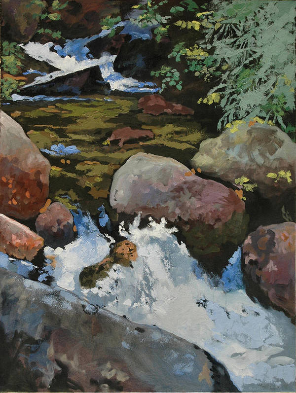Creek Art Print featuring the painting Mountain Stream by Robert Bissett