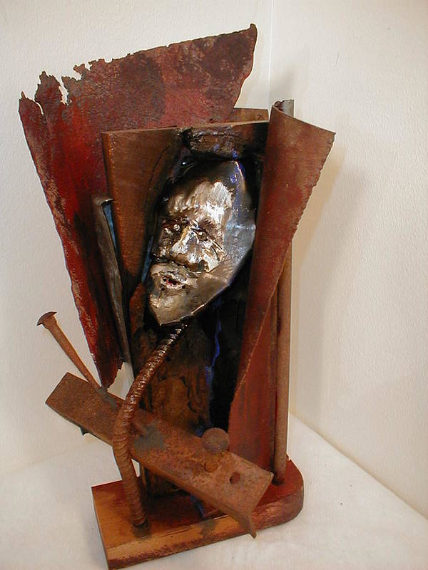 Welded Steel Art Print featuring the sculpture My Back Pages by Chuck Kugler