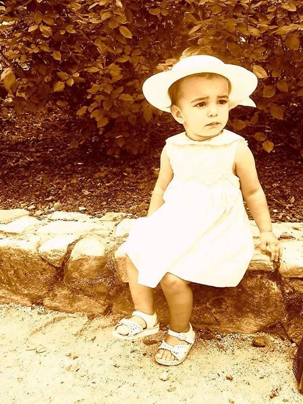 Antique Art Print featuring the photograph My Best White Dress by Caroline Urbania Naeem