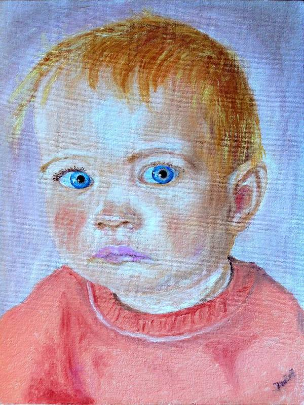 Leonie Art Print featuring the painting My Granddaughter Leonie by Helmut Rottler