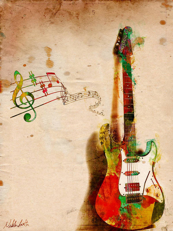 Guitar Art Print featuring the digital art My Guitar Can Sing by Nikki Smith