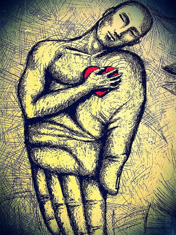 My Heart In Your Hand Art Print featuring the digital art My Heart In Your Hand by Paulo Zerbato