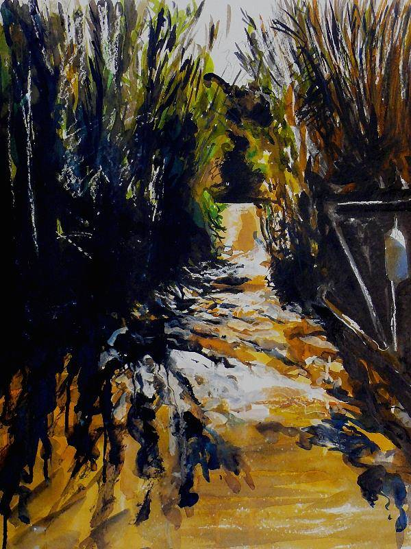 Landscape Art Print featuring the painting Mystery Path by Doranne Alden
