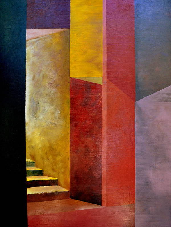 Gold Art Print featuring the painting Mystery Stairway by Michelle Calkins