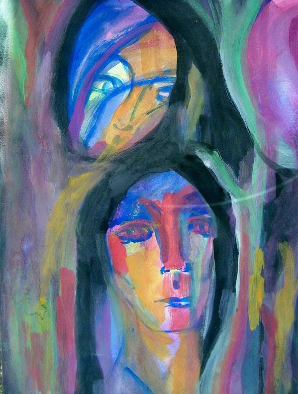 Abstract Art Print featuring the painting Native America by Judith Redman