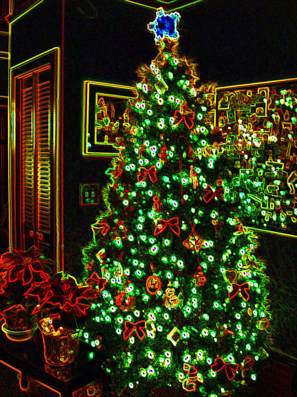 Christmas Art Print featuring the photograph Neon Christmas Tree by Nancy Mueller