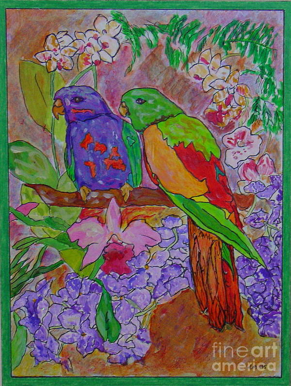 Tropical Pair Birds Parrots Original Illustration Leilaatkinson Art Print featuring the painting Nesting by Leila Atkinson