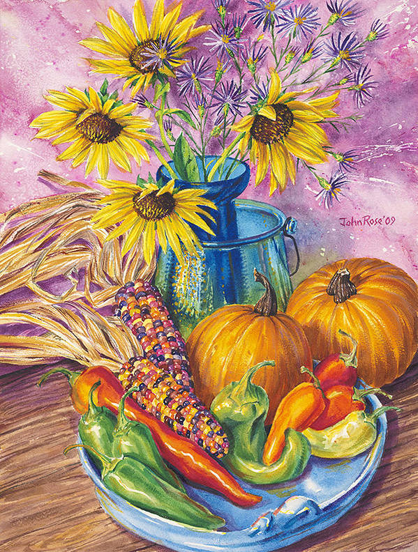 Still Life Art Print featuring the painting New Mexico Harvest by John Rose
