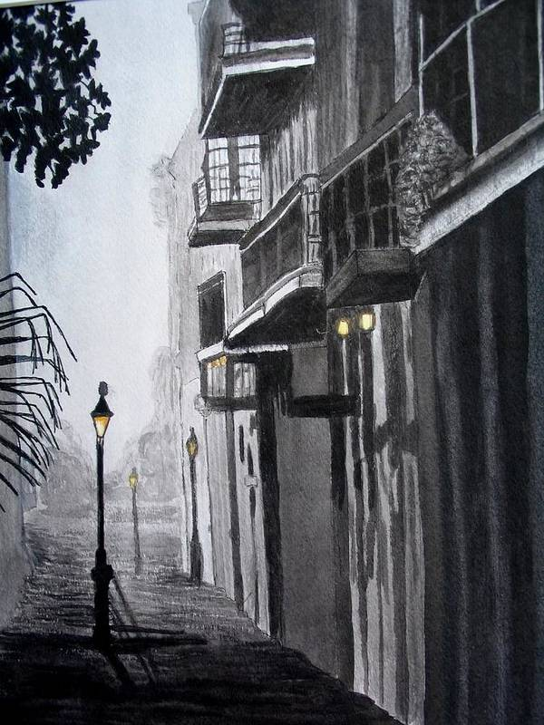 Pen And Ink Art Print featuring the painting New Orleans At Night by Liz Borkhuis