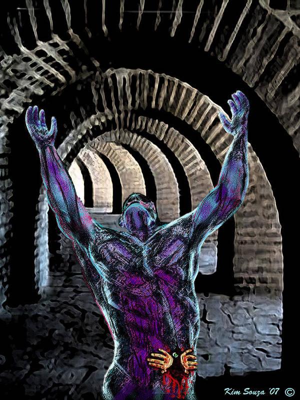 Horror Art Print featuring the digital art Nightmare Cave by Kim Souza