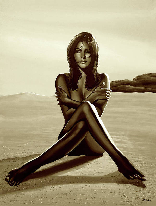 Nude Art Print featuring the mixed media Nude Beach Beauty Sepia by Paul Meijering