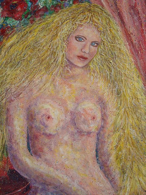 Nude Art Print featuring the painting Nude Fantasy by Natalie Holland