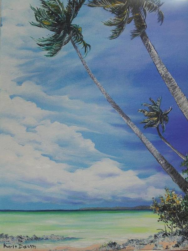 Trinidad And Tobago Seascape Art Print featuring the painting Nylon Pool Tobago. by Karin Dawn Kelshall- Best