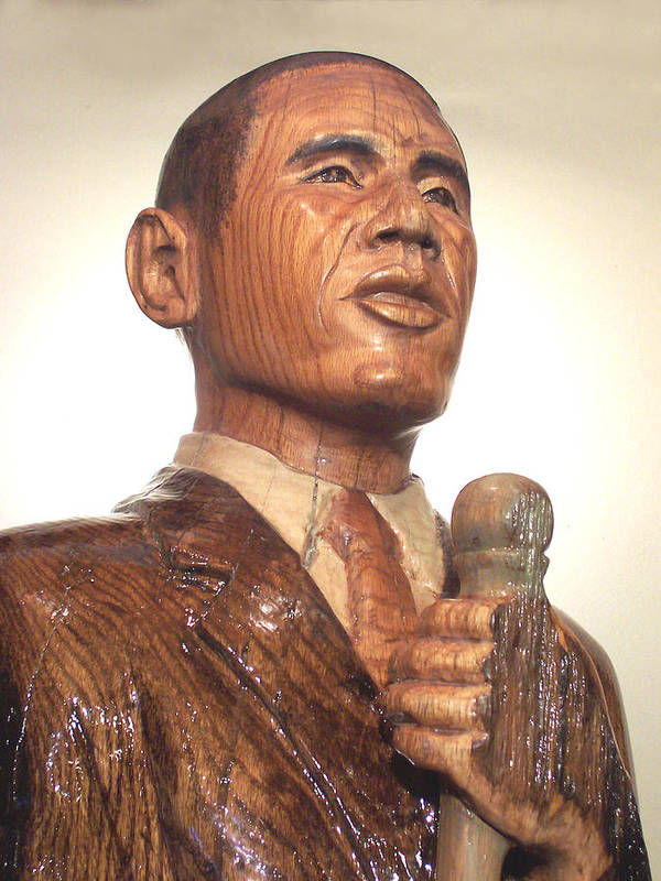 Art Print featuring the sculpture Obama In A Red Oak Log - Up Close by Robert Crowell