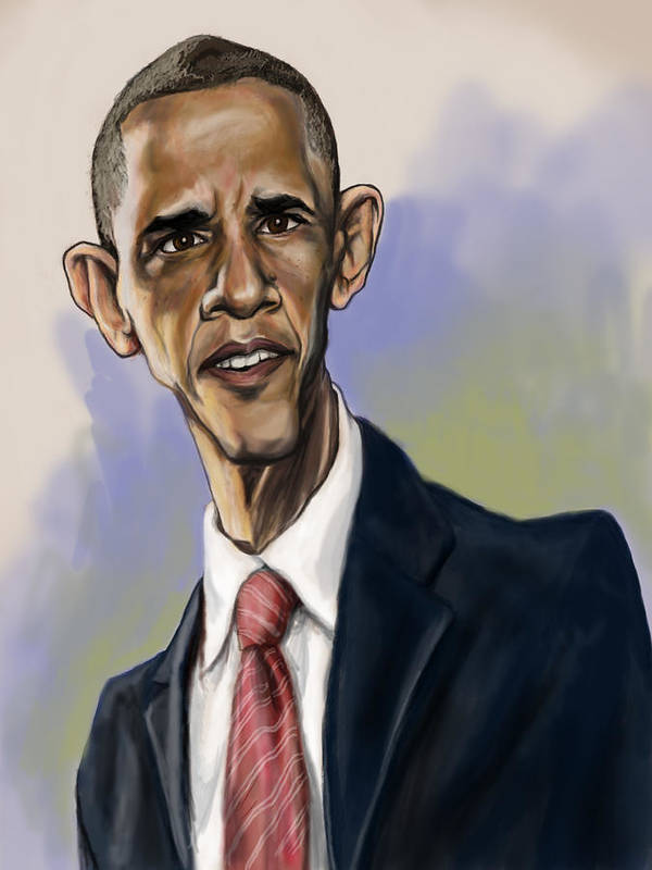 Barack Obama Art Print featuring the painting Obama by Tyler Auman