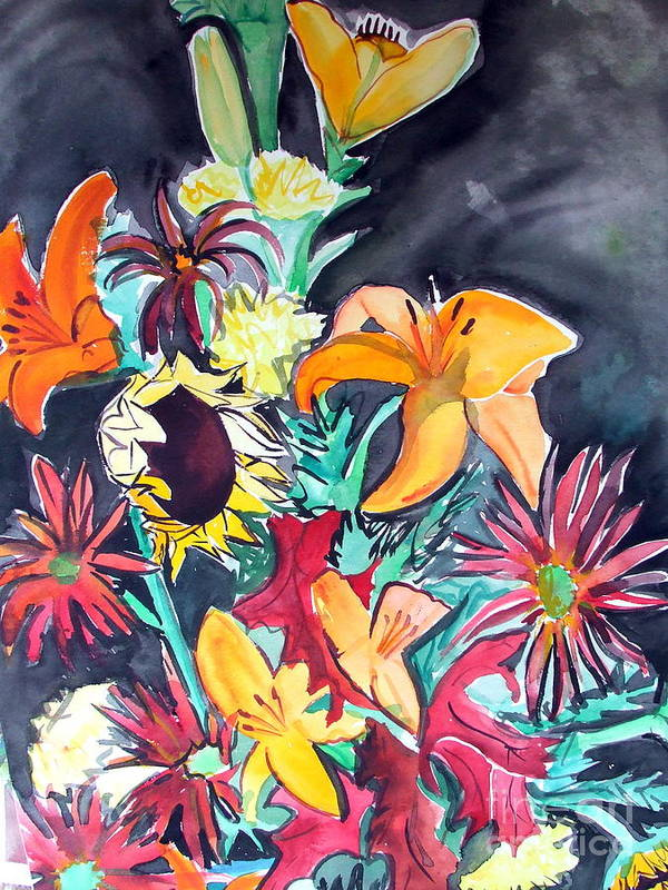 Sunflower Art Print featuring the painting October Flowers by Vanda Sucheston Hughes