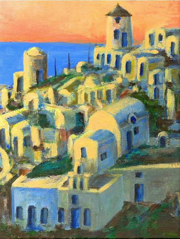 Oia Art Print featuring the painting Oia. Santorini by Randy Sprout