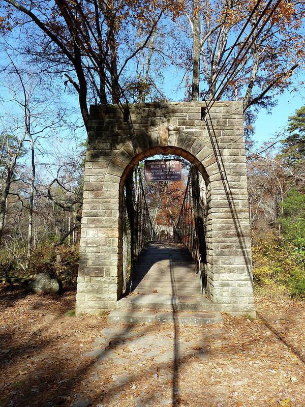 Ccc Art Print featuring the photograph Old Ccc Swinging Bridge by Joel Deutsch