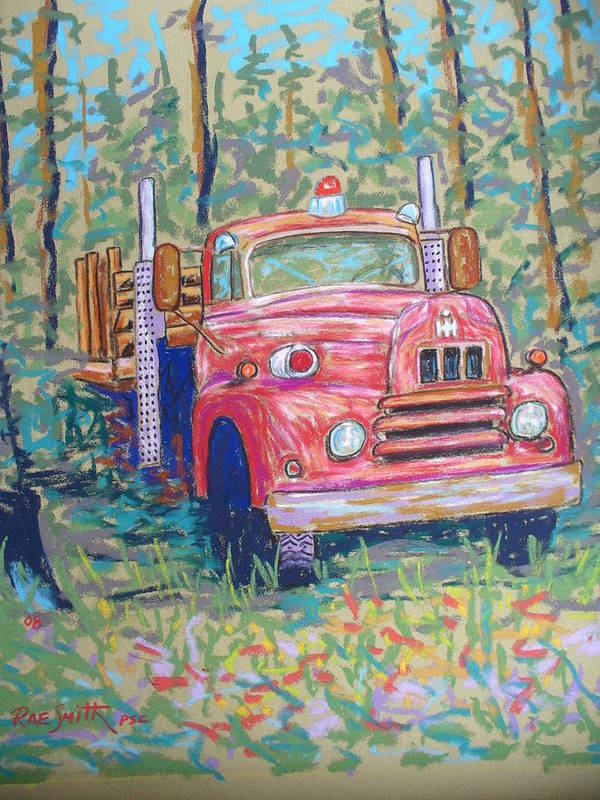 Fire Truck Art Print featuring the pastel Old Fire Truck by Rae Smith