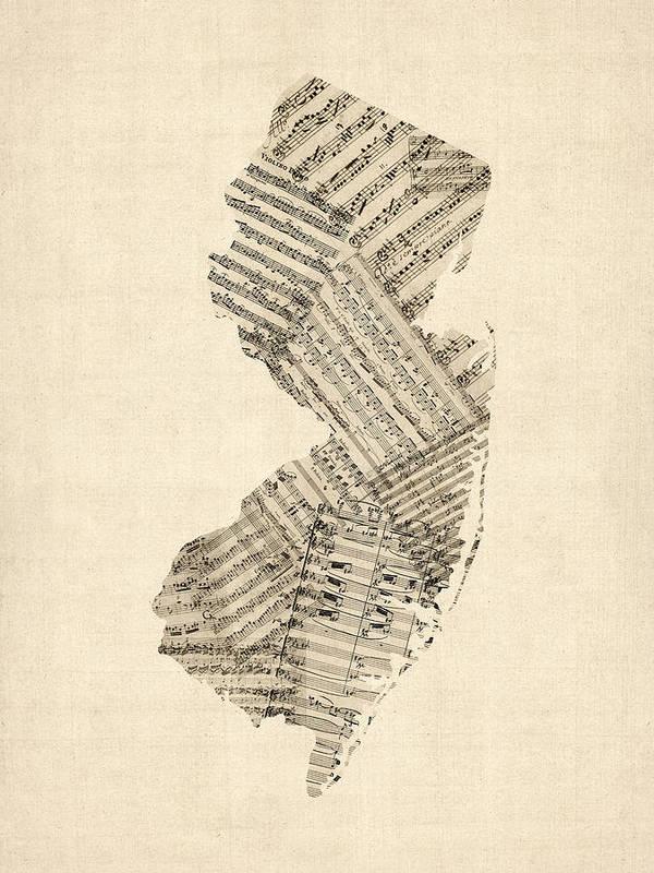 New Jersey Art Print featuring the digital art Old Sheet Music Map Of New Jersey by Michael Tompsett