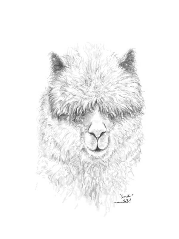 Llama Art Art Print featuring the drawing Omily by K Llamas