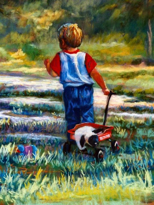 Children Art Print featuring the painting On The Move by Jimmie Trotter