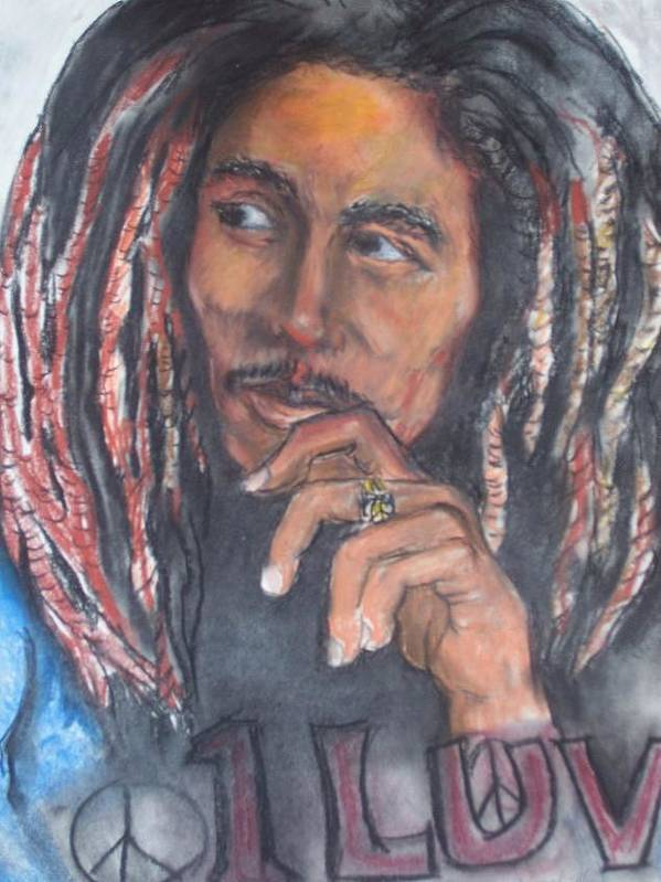 Bob Marley Art Print featuring the print One Luv by Darryl Hines