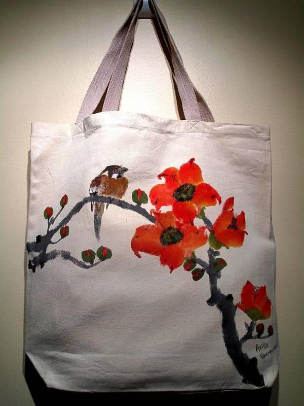 Original Hand-painted Tote Bags Art Print featuring the painting Original Hand-painted Totebag by Anita Lau