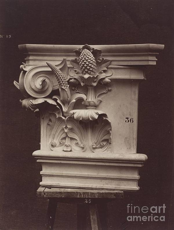 Art Print featuring the photograph Ornamental Sculpture From The Paris Opera House (column Detail) by Louis-?mile Durandelle