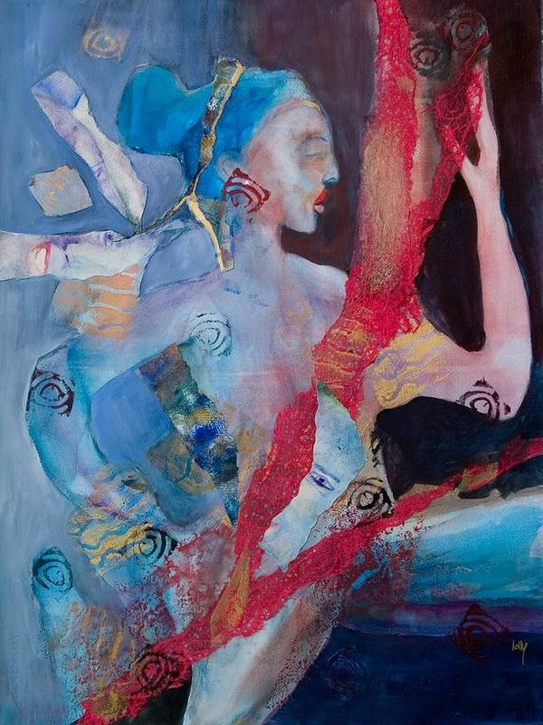 Woman Spirit Art Print featuring the painting Out Of My Head by Lolly Owens