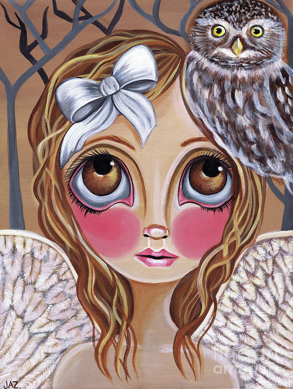 Owl Art Print featuring the painting Owl Angel by Jaz Higgins