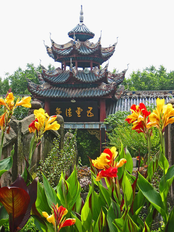 Pagoda Art Print featuring the photograph Pagoda With Flowers by Angela Siener