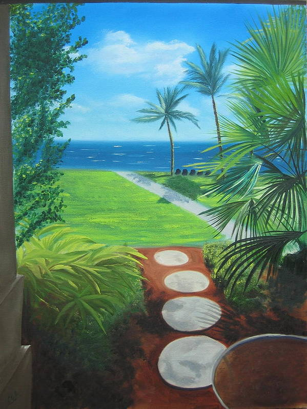 Seascape Art Print featuring the painting Paradise Beckons by Lea Novak
