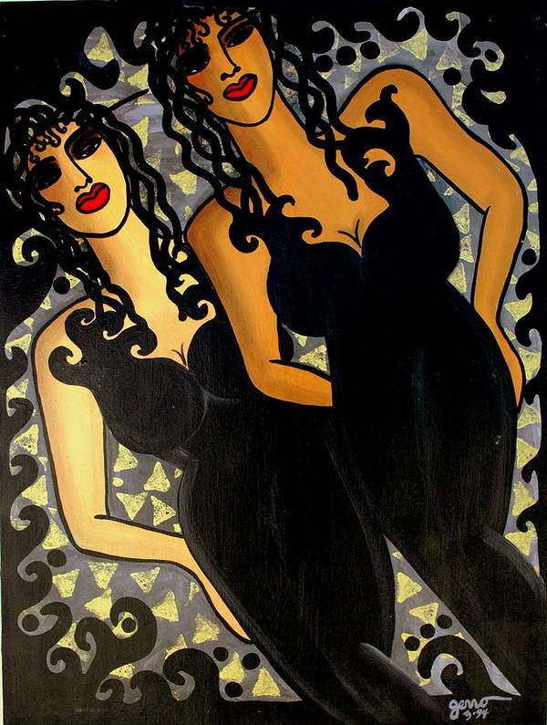 Figures Artwork Art Print featuring the painting Paris Nights by Helen Gerro