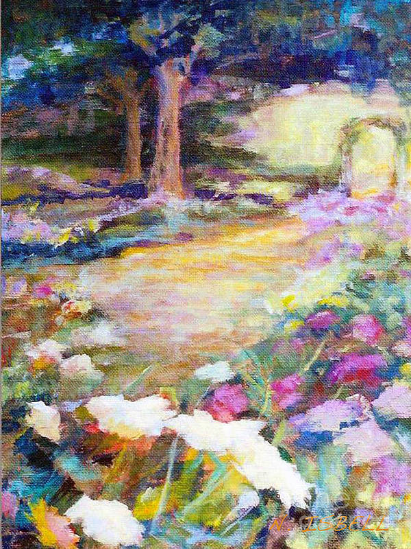 Landscape Art Print featuring the painting Path To The Light by Nancy Isbell