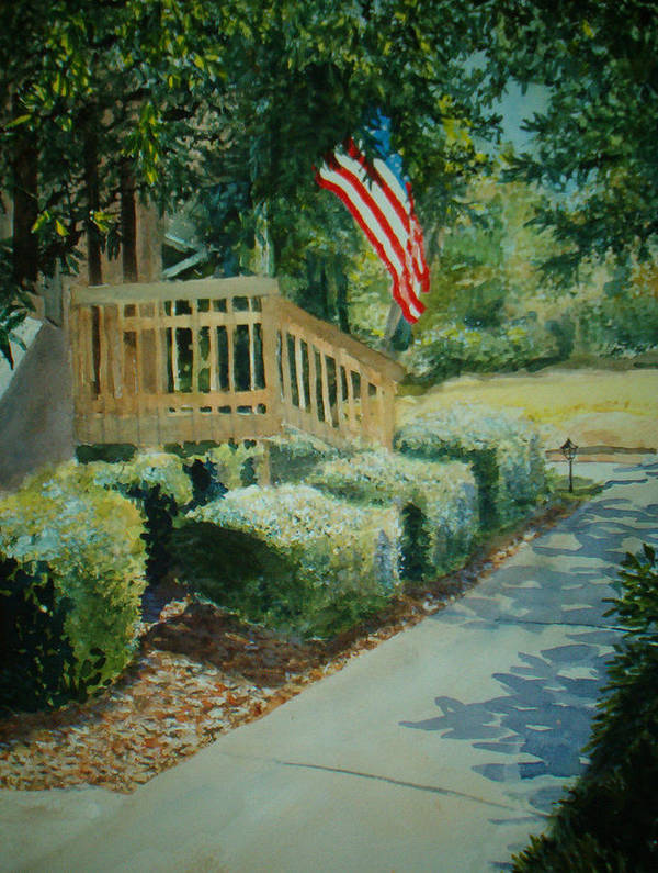 Landscape Art Print featuring the painting Patriot Next Door by Shirley Braithwaite Hunt