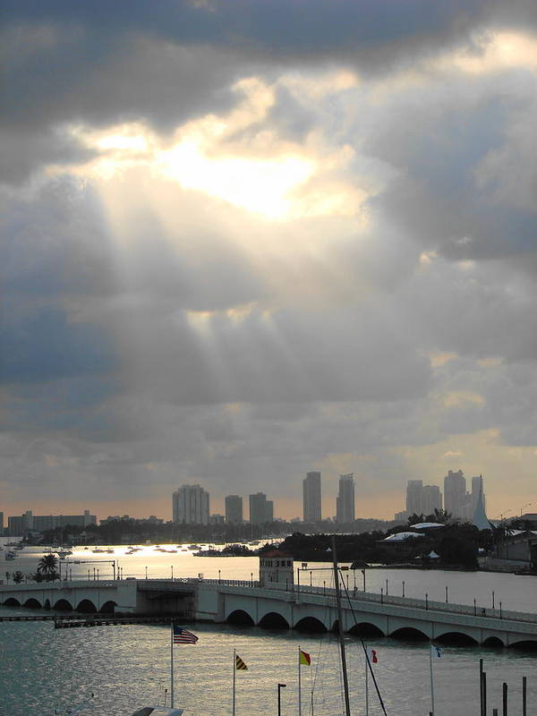 Miami Art Print featuring the photograph Peaceful Rays Of Sunshine by Margaret Bobb